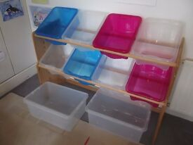 Large Bespoke Storage Rack with 10 Plastic Storage Boxes - Ideal Childs Bedroom or Playroom