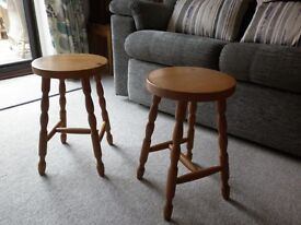Two pine stools