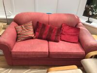 Red settee / sofa with footstool