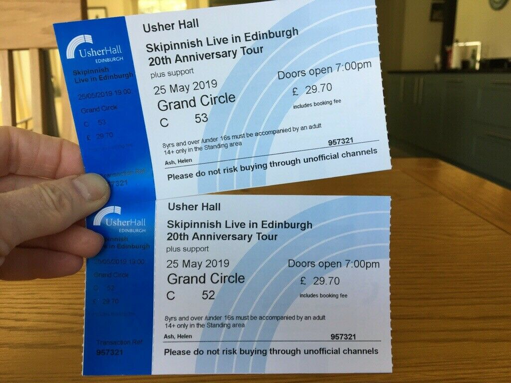 2 Grand Circle tickets for SKIPINNISH 20th Anniversary Tour  Usher Hall  Edinburgh  Saturday May 25  | in Aviemore, Highland | Gumtree
