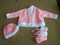 New Beautiful baby hand knit set cardigan, hat and bootees, peach and white