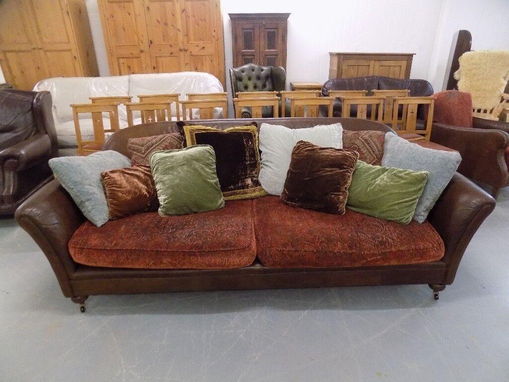 Tetrad Julia Grande Brown Antiqued Leather & Fabric Sofa | in Long  Stratton, Norfolk | Gumtree