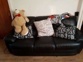 Leather 3 seater with cushions
