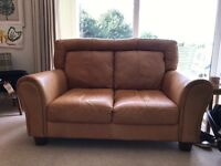 2 x 2 seater tan leather sofas DFS good used condition