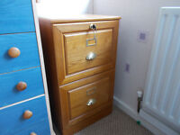 Wooden two drawer filing cabinet, lockable upper drawer