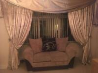 Gold crushed velvet curtains and scalf