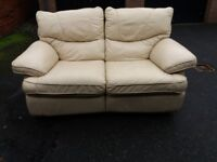 Cream leather two seater recliner, sofa, couch, settee (free local delivery)