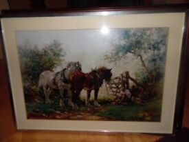 large painting of shire horses in a field with wooden frame