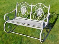 Victorian Style Metal Garden Rocking Chair Bench In A Shabby Chic Antique Grey