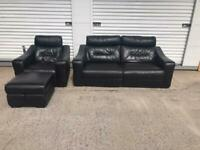 Dfs black leather power recliner sofa set immaculate CAN DELIVER LOCAL 😁🚛👍🏻