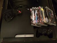 Sony PlayStation 3 Slim 120GB + 8 Games + Controller BUNDLE - Good Condition