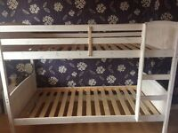 Bunk bed for sale, white wooden frame, mattresses not included