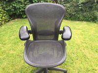 Herman Miller Aeron Chair, size A, small size. Adjustable arms, tilt, lumbar.