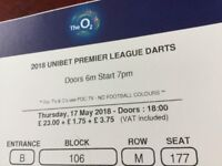 4 tickets for the unibet league darts 17 may at the 02