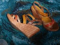 """""""Marco Tozzp"""" tan wedge heeled sandals size 39"""