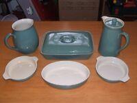 DENBY green cookware. Casserole, bowls,jug and coffee pot.
