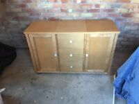 Wooden Sideboard (oak effect) with Drawers and Cupboards