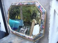 GORGEOUS MIRROR HAS COLOURED EDGING AND GOLD LEAF BANDING CAN DELIVER