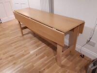Folding dining table - beech veneer, large table seats 8 - 10