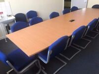 12 Seater Conference Table (Beech) with 12 Chairs Package