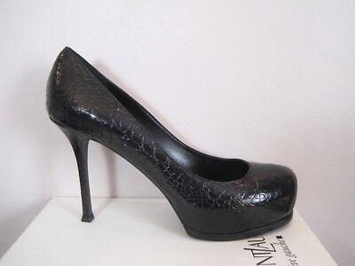YSL Yves Saint Laurent Tribtoo 80 Black Croc Print Pumps Shoes 41.5 11.5 $795