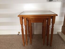 set of three antique style Reproduction Yew Wood tables with glass tops - excellent condition