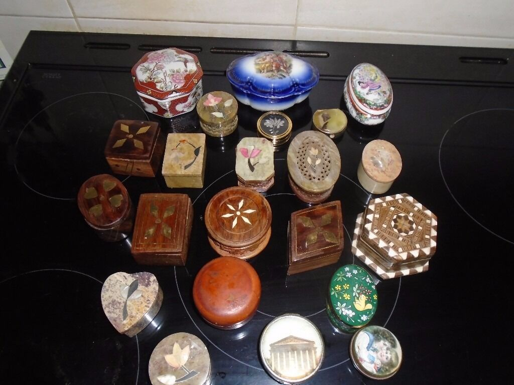 trinket boxes wooden soap stone china etc 23 of them