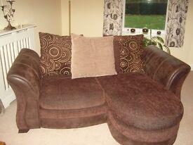 Brown 2-Seater Lounger Sofa