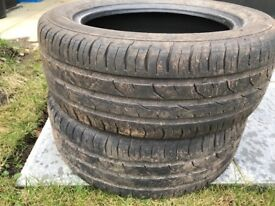 2x Continental tyres 195/55/r15