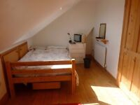Bright room and own bathroom on top floor in family house