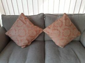 Beautiful pale orange and cream cushions for sale, excellent condition!