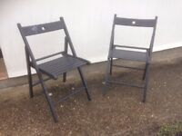 Folding wooden chairs x 2
