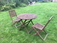 John Lewis wooden garden table and chairs, foldable