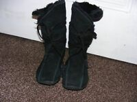 Suede / Leather Mid Calf Black Boots. Size 3