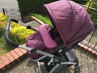 Mothercare roam pram aubergine with car seat and isofix