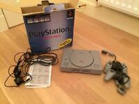 PlayStation 1 console with original packaging ps1