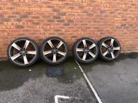 "19"" Audi/VW alloy wheels, 5x112, et45, 19x8j, good tyres, no buckles or repairs"