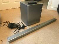 Samsung wired Bluetooth sound bar and subwoofer.