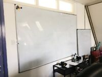 Whiteboard Drywipe Magnetic with Pen Tray and Aluminium Trim W1800xH1200mm