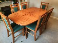 Complete solid pine dining set