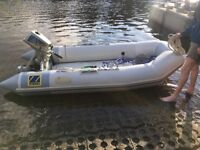 Zodiac CFR 310 inflatable boat sib rib dingy available with outboard if needed.