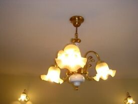 Central ceiling chandelier and 2 matching wall brackets,with glass shades and brass fittings