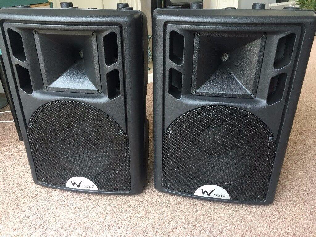 "W Audio, powered 12"" PA Speakers"