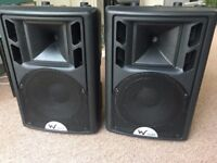 "W Audio, powered 12"" PA Speakers"