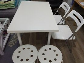 Ikea table, 2 folding chairs, 2 stools, 2 side tables(black and white), office desk and chair