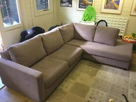Designer corner sofa. Bought 3 years ago and used for only 6 months, in storage since