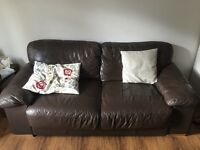 FREE Three seater brown leather Sofa / Couch / Settee