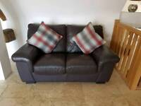 Brown leather 2 seater sofa, arm chair and footstool for sale