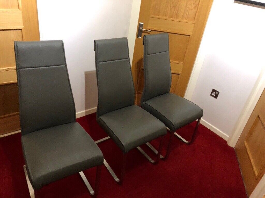 3 Grey Leather Dining Room Chairs For Sale 30 Each In Bonnybridge Falkirk Gumtree