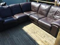 Brown leather corner couch/sofa